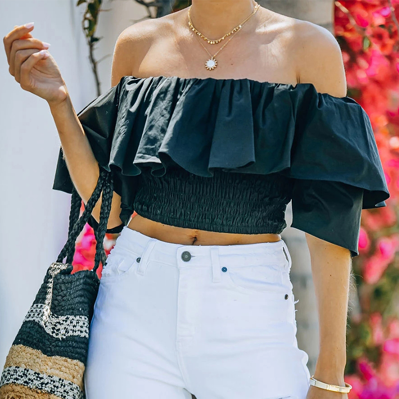 nihaostyle clothing wholesale new one-neck ruffled high-waist blouse NSOUY67472
