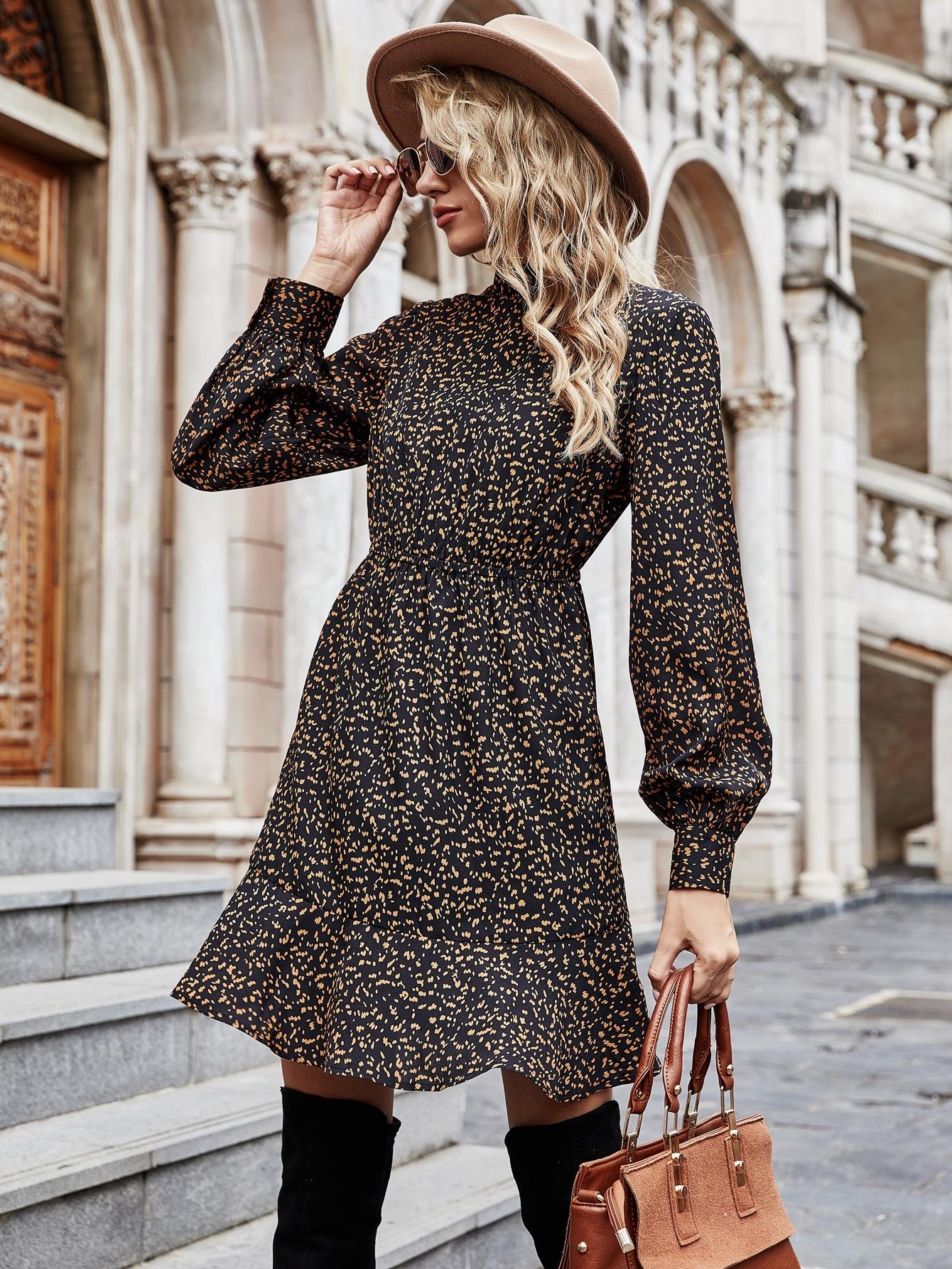 Fashion Temperament Waist Ruffle Dress nihaostyle clothing wholesale NSOUY69193