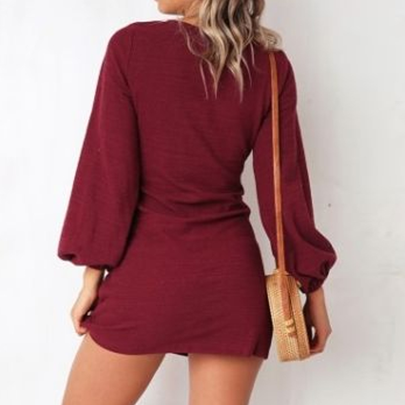 Autumn and winter casual tie long-sleeved dress nihaostyle clothing wholesale NSYID68966