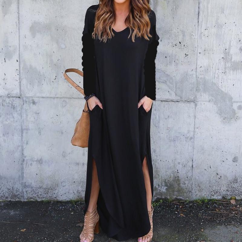 V-neck loose long-sleeved split dress nihaostyle clothing wholesale NSYID68965