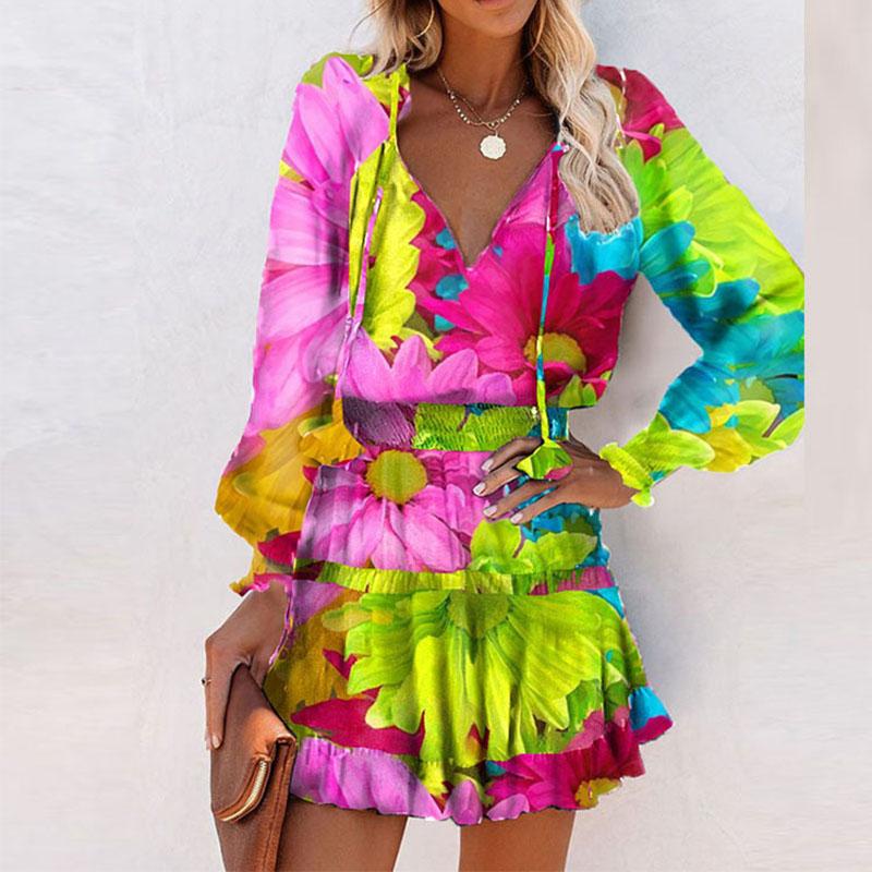 new V-neck ruffled long-sleeved dress Nihaostyles wholesale clothing vendor NSYIS74959