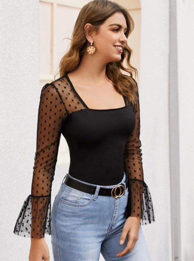 lace shoulder long-sleeved top Nihaostyles wholesale clothing vendor NSOUY72703