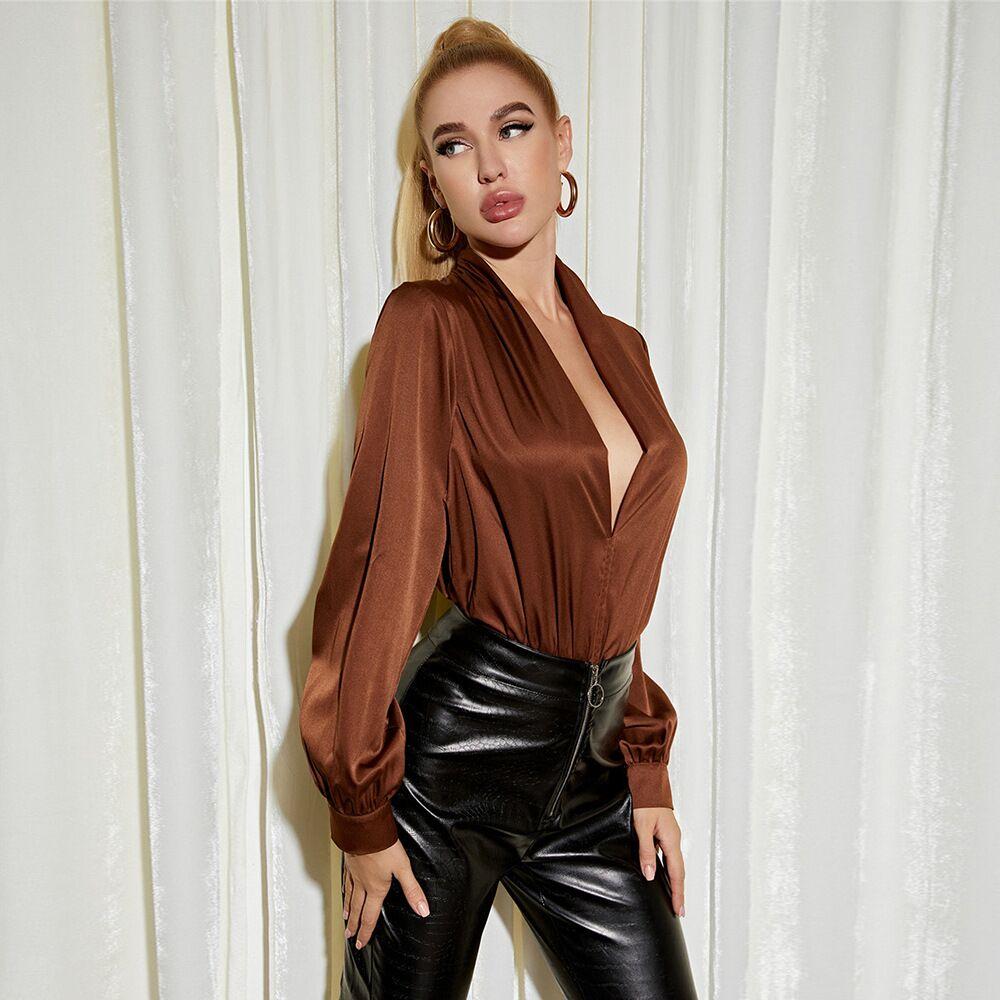 v-neck Satin bodysuit nihaostyles clothing wholesale NSYSY80848