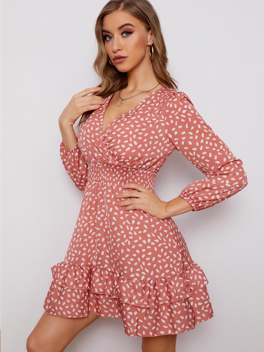 V-neck polka dot print dress nihaostyles wholesale clothing NSXIA83167