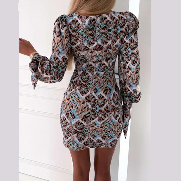 long-sleeved wrapped chest package hip tight dress nihaostyles wholesale clothing NSXIA83175