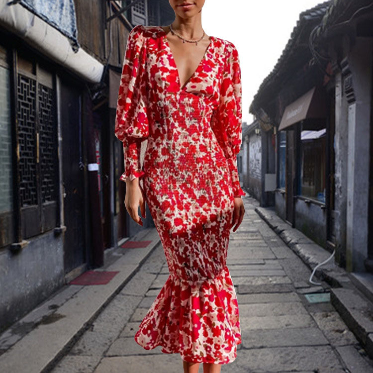 V-neck print fishtail dress nihaostyles wholesale clothing NSXIA83255