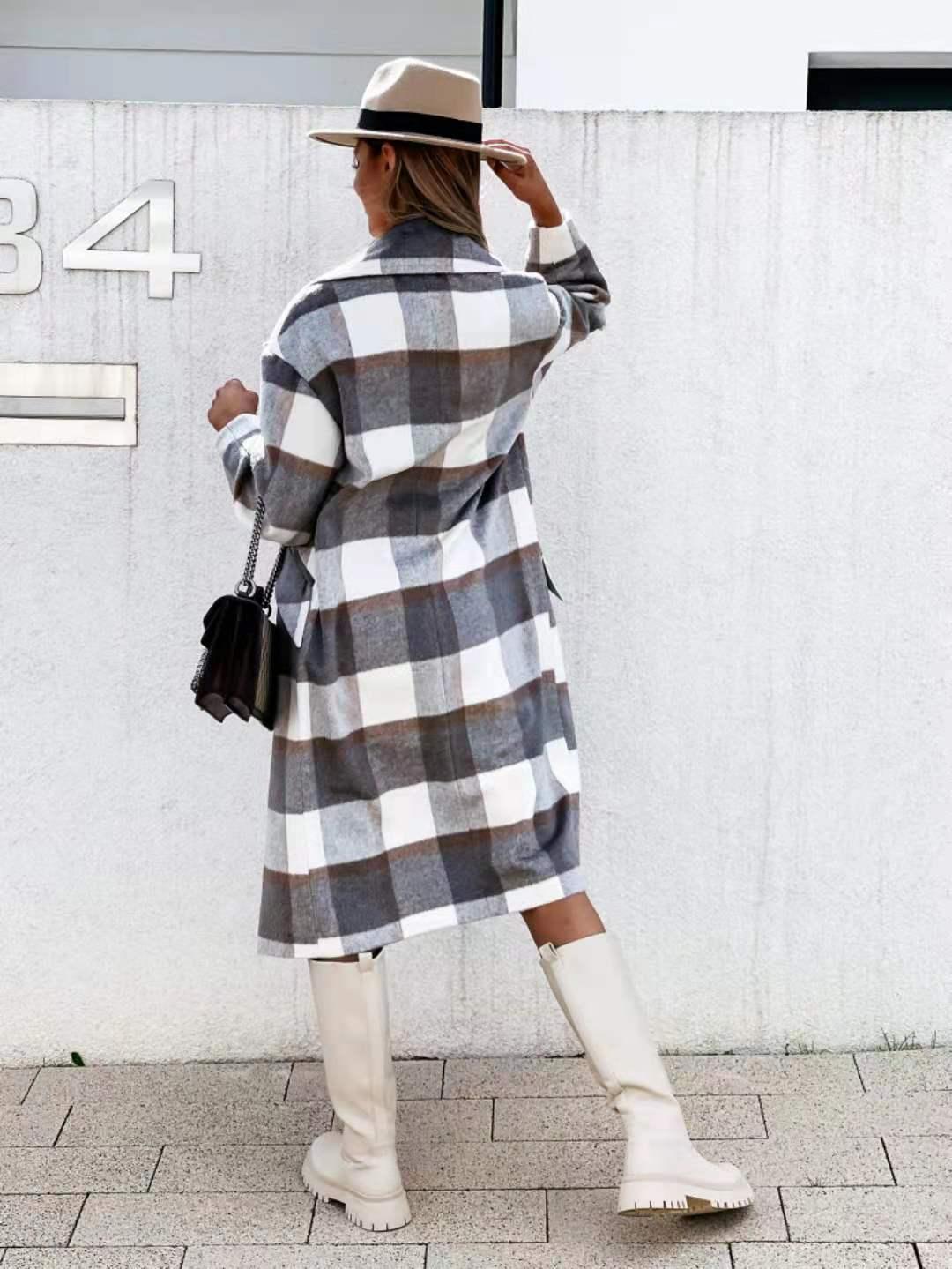 plaid woolen mid-length coat nihaostyles clothing wholesale NSOUY83248