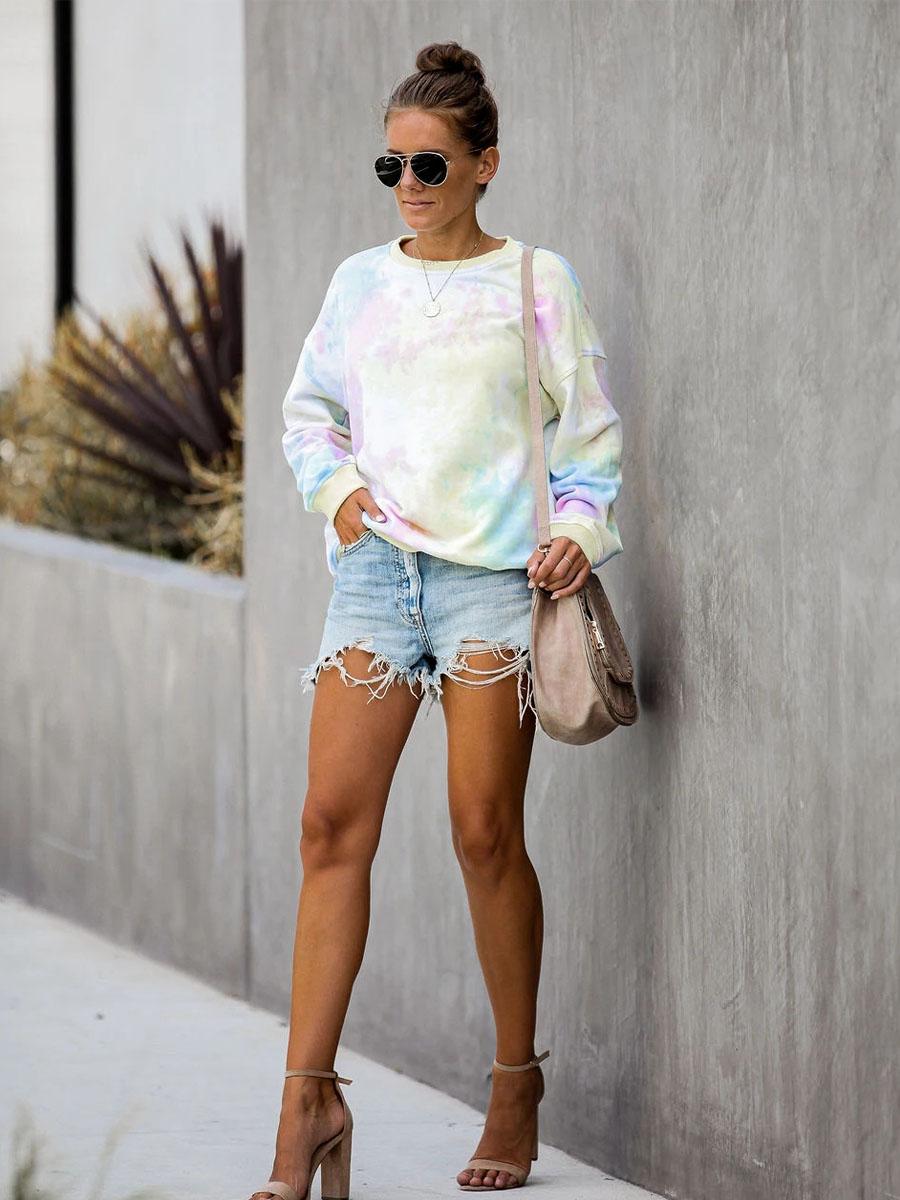 tie-dye round neck long-sleeved sweatershirt nihaostyles wholesale clothing NSXIA83212